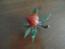 2) - Pêche fruit en pierre dure cornaline  4,5 X 4 cm xxe  CHINE ASIE