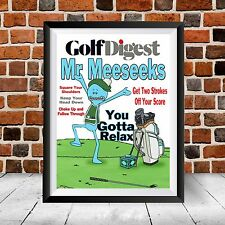 Mr Meeseeks Golf Digest Cover Print Rick and Morty Adult Swim Show Gift Poster