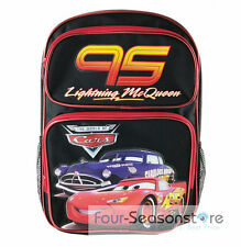 "Disney Cars Lightening Mc Queen Black 16"" Back to School Backpack Bag!"