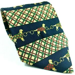 Tommy Hilfiger Dog Canine Tartan Plaid Links Blue Green Red Silk Novelty Tie