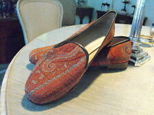 Classic STUBBS & WOOTTON Red/Light Blue Paisley Silk Pumps 7.5B