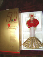 Barbie Doll 50th Anniversary Golden Gown Mattel Red Roses Porcelain New In Box