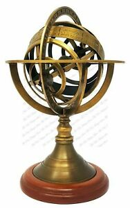 """8"""" Antique Style Brass Armillary Sphere Globe Vintage Table Decor Replica Gift"""