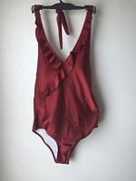 Cupshe Swimsuit Size Large 12/14 Women's One Piece Plunging V-Neck Padded Halter