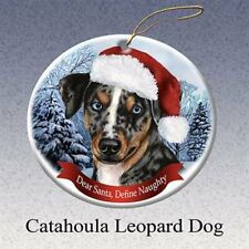 Holiday Pet Gifts Catahoula Leopard Santa Hat Dog Porcelain Christmas Ornament