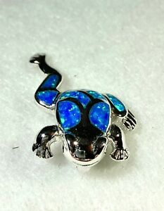 Inlay Created Opal Sterling Silver Frog Pendant