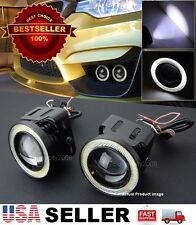 "Pair 3"" White DRL COB LED Halo Ring Driving Projector Fog Light For Honda Acura"