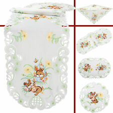 Brown Bunny Flower Easter Embroidery Tablecloth Table runner Overlay Doily White