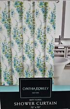 Cynthia Rowley New York BRITT FLORAL Watercolor Shower Curtain Aqua Green NWT