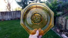 "L. E. Smith Amber Romanesque 10½"" Bowl Shallow Rotund Bowl Octagonal Beaded Arch"