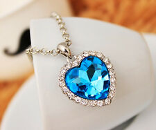 Fashion 925 Silver Plated Women Girl Blue Heart Pendant Necklace Chain Jewelry