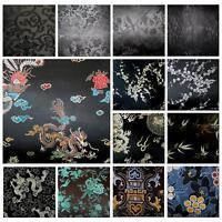 Faux Silk Brocade (Black Background) Jacquard Damask Kimono Fabric Material BL24