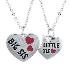 Lux Accessories SilverTone Big Sis Lil Heart VDay Charm Pendant Necklace Set 2PC