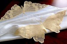 Vintage White Linen Tablecloth With Large Hand Crochet Butterflies Table Cloth