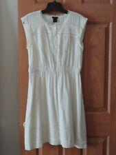 Ann Taylor Loft Small Beautiful Off-White Cream Eyelet Cotton Sleeveless Dress