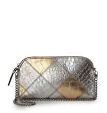Eric Javits Designer Women's Handbag Patchwork Pouch Gold/Silver NEW AUTHENTIC