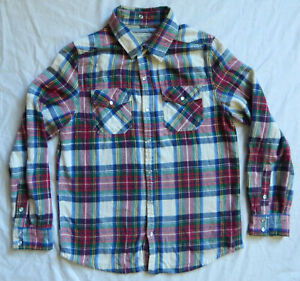 White Red Green Plaid Pearl Snaps Long Sleeve Flannel Shirt - Small Mens Cotton