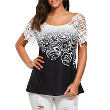 Summer Women Blouse Lace Stitching Floral Printed Short Sleeve Loose Tops Shirts Blue L
