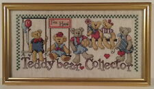 Teddy Bear Collector Htf Cross Stitch Finished Gold Frame Design Works #1088