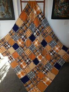 Navy & Spice XL Rag Quilt Throw ALL FLANNEL Pumpkin Sienna Cream Gray NEW HM