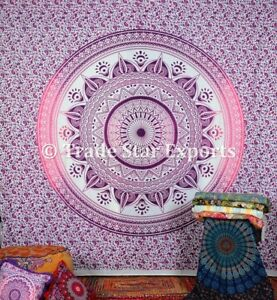 """Large Mandala Ombre Wall Hanging Handmade Cotton Tapestry 108"""" Hippie Bedspread"""