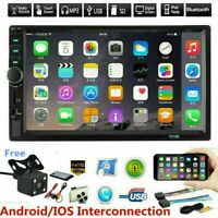 """7"""" Double 2 Din Touch Screen Car Stereo MP5 Player Bluetooth FM Radio W/ Camera"""