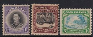 Cook Islands 1938 set of 3 SG127-129 Fine used