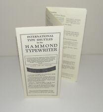 Hammond Typewriter International Type Shuttle Brochure Reproduction