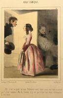 H.DAUMIER(1808-1879), Karikierende Darst., Mädchen mit spätem Besuch, Kol. Lith.