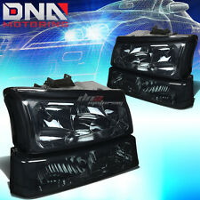 FOR CHEVY SILVERADO 2003-2006 EURO SMOKED HOUSING CLEAR CORNER+BUMPER HEADLIGHTS
