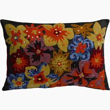 Luxurious Floral Sewn on Flowers Cushion Cover & Pad Faux Silk Reverse 12 X 18""