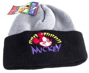 Micky Mouse Aqvila Grey and Black Acrylic Beanie Hat