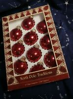 Vintage North Pole Traditions Set of 10 Red Glass Ornaments