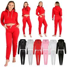Women's Tracksuit Cropped Hoodies Trousers Plain Ladies Joggers Crop Top Bottom