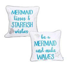 "Mermaid Kisses Starfish Wishes Make Waves 16x16"" Large Pillow Set 2 Ocean Beach"