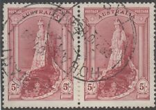 Stamp Australia 5/- lake robe thick paper pair variety re-entry right frame