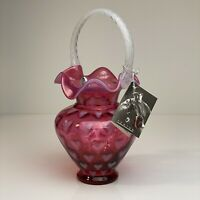 "Fenton Art Glass Cranberry Opalescent Heart 10 1/2"" Basket   Limited Edition"