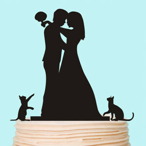 Customised Wedding Cake topper Cats Dogs Bride and Groom Silhouette Decoration