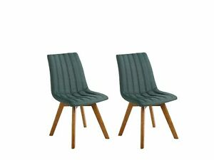 Set of 2 Fabric Dining Chairs Green Polyester Solid Wood Dark Tone Legs Calgary