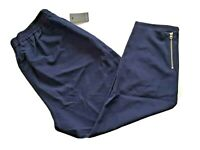 ELOQUII Pull-On Crop Pants Ankle Zip Elastic Waist Pockets Navy Plus Size 20 NWT