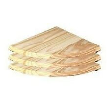 Set Of 3 Natural Wood Wooden Corner Shelf Wall Mounted Storage Unit Shelves Kit