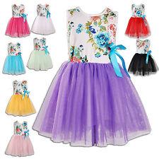Nuevo Flor Niñas Vestidos de Fiesta En 9 Colores De 12-18 Meses A 7-8 Años