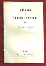 Libro Prima Edizione Lettera e Sonetti Diversi di Francesco Tognetti 1838 Rarità