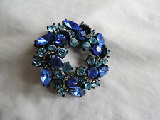 Vintage Japanned BLUE RHINESTONE Brooch Pin Jewelry WOW (tr003)