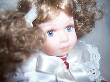 "9"" in 100% all porcelain TODDLER DOLL with curly auburn pigtails red white dress"