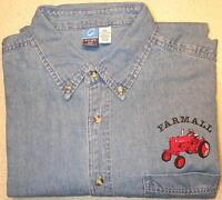 """Farmall Cub or Farmall H/M Mens Denim Shirt/Pocket w/""""Farmall"""""""