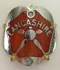 WALKING STICK BADGE WITH PINS - LANCASHIRE RED ROSE - BRASS CHROMIUM PLATED-NEW