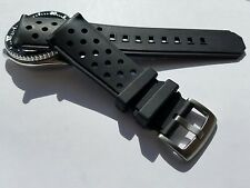 22mm Breathable Black Silicone Rubber Watch Band Strap for Seiko Dive Scuba