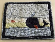 Pottery Barn Kids Baby Jackson Whale Quilted Pillow Sham Cover Small 13x16� Blue