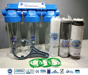 """3 Stage Whole House High Flow Water Filter Dechlorinator Chlorine Removal 3/4"""""""